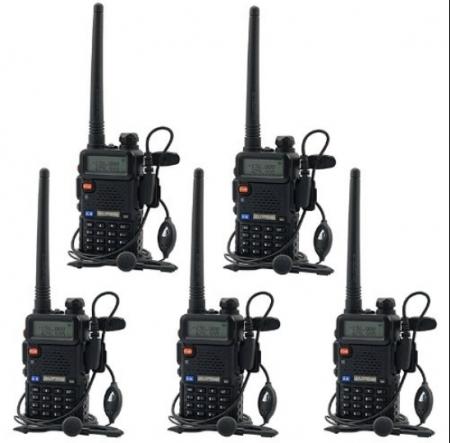 Set 5 statii radio Baofeng UV-5R Dual Band Tranciever + Bonus Casti cu microfon incluse0