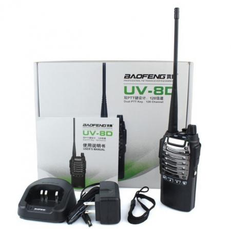 Set 2 buc statii Radio Walkie Talkie Baofeng Raldio UV-8D UHF 400 - 520MHz 16CH PROGRAMABILE 8W, radio UHF 65 - 108 MHz4