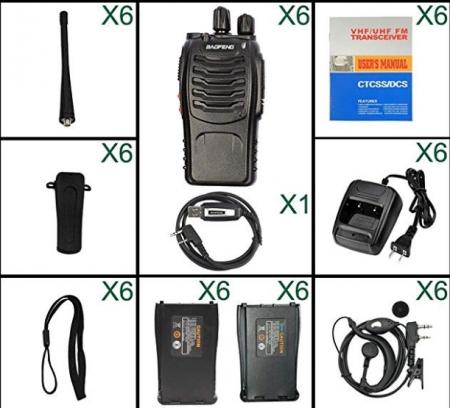 Set 6 buc Baofeng BF-888S cu 12 acumulatori 1500 mAh + Bonus Cablu+CD programare1