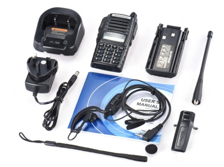 Set 3 statii UV- 82 walkie talkie transiever, 5 W,  dual band VHF, UHF, 2800 mAH , radio FM3