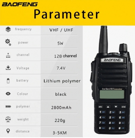 Set 3 statii UV- 82 walkie talkie transiever, 5 W,  dual band VHF, UHF, 2800 mAH , radio FM5