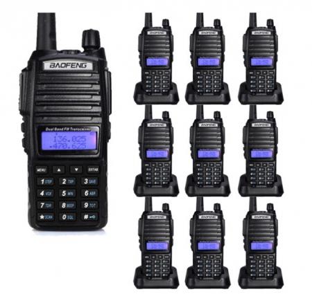 Set 10 statii UV- 82 walkie talkie transiever, 5 W, dual band VHF, UHF, 2800 mAH , radio FM, BONUS cablu programare + CD0