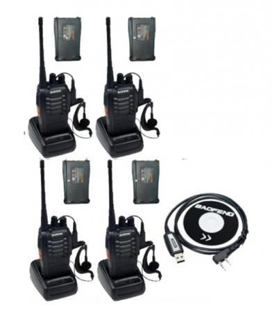 Set 4 buc Baofeng BF-888S cu 8 acumulatori 1500 mAh + Bonus Cablu+CD programare0