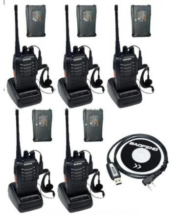Set 5 buc Baofeng BF-888S cu 10 acumulatori 1500 mAh + Bonus Cablu+CD programare0