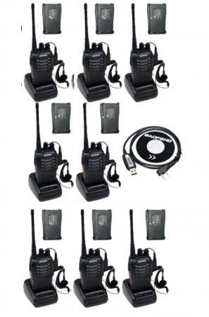 Set 8 buc Baofeng BF-888S cu 16 acumulatori 1500 mAh + Bonus Cablu+CD programare0