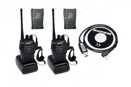 Set 2 buc Baofeng BF-888S cu 4 acumulatori 1500 mAh + Bonus Cablu+CD programare0