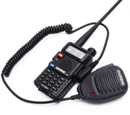 Statie  Radio Walkie Talkie Baofeng UV-5R cu MICROFON exterior, Transceiver Inclus Casti cu microfon0