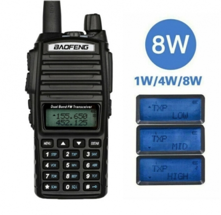 Statie  Baofeng UV-82 8WDual Band Transceiver 8W 128 canale , Radio FM0