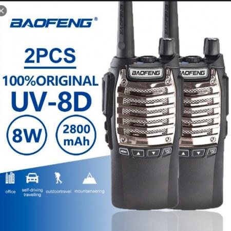 Set 2 buc statii Radio Walkie Talkie Baofeng Raldio UV-8D UHF 400 - 520MHz 16CH PROGRAMABILE 8W, radio UHF 65 - 108 MHz1