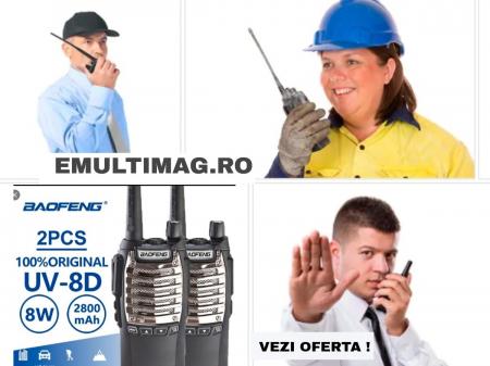 Set 2 buc statii Radio Walkie Talkie Baofeng Raldio UV-8D UHF 400 - 520MHz 16CH PROGRAMABILE 8W, radio UHF 65 - 108 MHz0