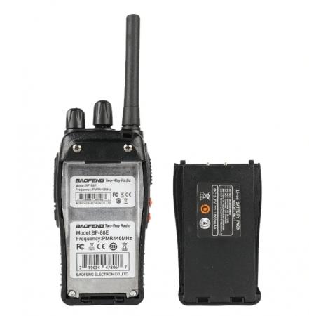 Set 2 statii radio BF-88E , 16 canale PMR 446 ,  antena fixa,  0.5 W2