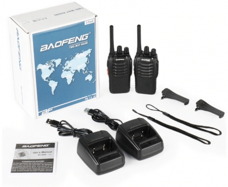Set 2 statii radio BF-88E , 16 canale PMR 446 ,  antena fixa,  0.5 W1