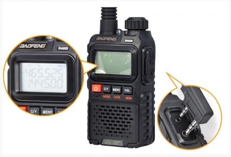 Statie radio Baofeng UV-3R+, Dual Band UHF, VHF, Walkie Talkie , FM tranciever, 99 CH, radio FM 88 - 108 MHz0