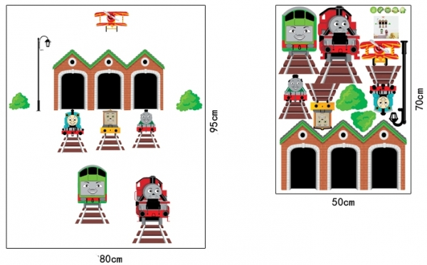 Abtibild perete copii - Trenulete in gara 4