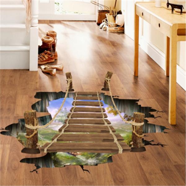 Sticker 3D pentru podea- Pod peste jungla - 57x94 cm 0