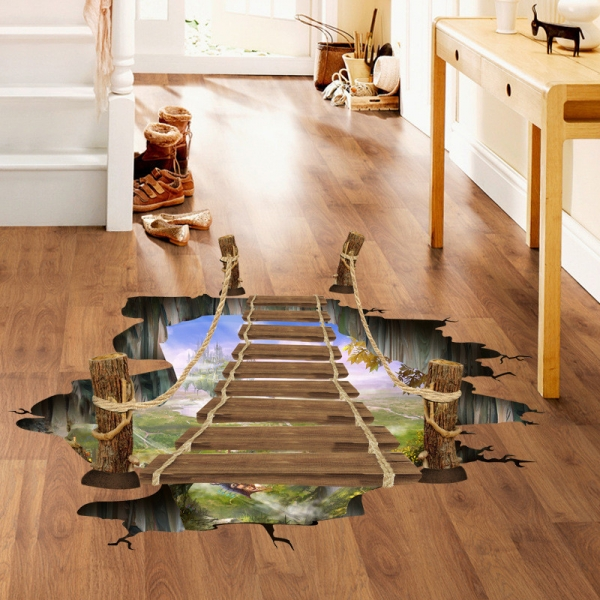 Sticker 3D pentru podea- Pod peste jungla - 57x94 cm 3
