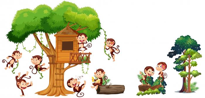 Autocolant camere copii - Casa Maimutelor - 60x90 cm 0