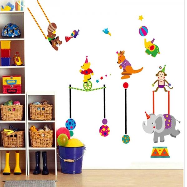 Autocolant de perete copii - Animalute la circ 0