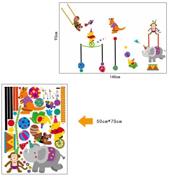 Autocolant de perete copii - Animalute la circ 4
