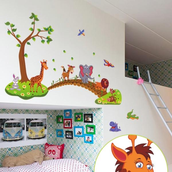 Autocolant de perete pentru copii - Podul cu animale 2