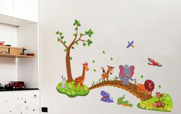 Autocolant de perete pentru copii - Podul cu animale 5