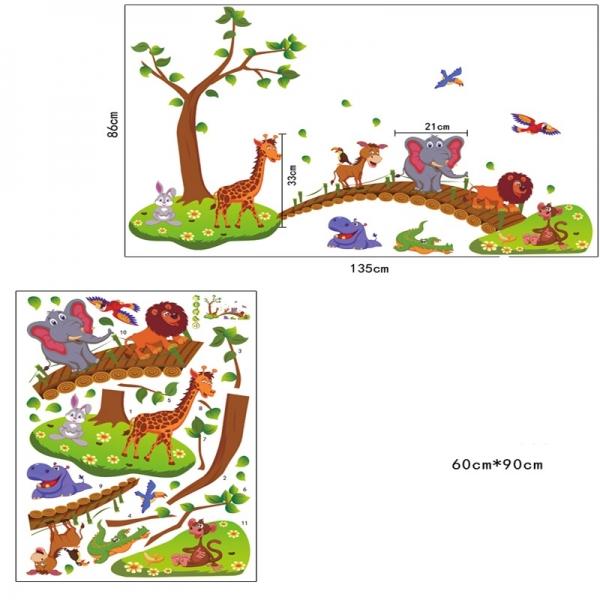 Autocolant de perete pentru copii - Podul cu animale 6