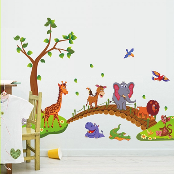 Autocolant de perete pentru copii - Podul cu animale 3
