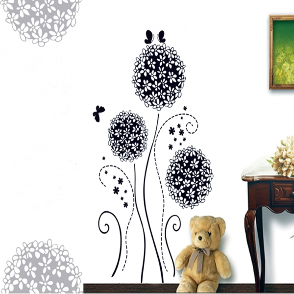 Autocolant decorativ - Flori si fluturi 0