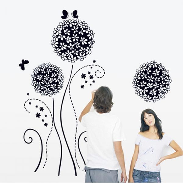 Autocolant decorativ - Flori si fluturi 1