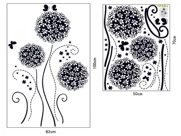 Autocolant decorativ - Flori si fluturi 6