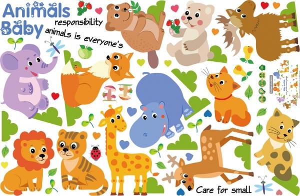 Autocolant decorativ pentru copii - Pui de animale 5