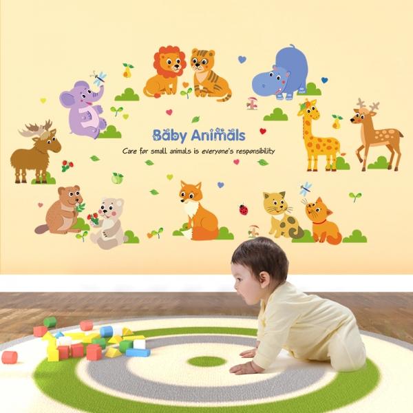 Autocolant decorativ pentru copii - Pui de animale 0