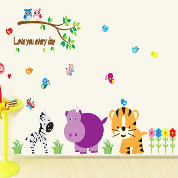 Autocolant decorativ perete - Love you every day (animale, jungla) 0
