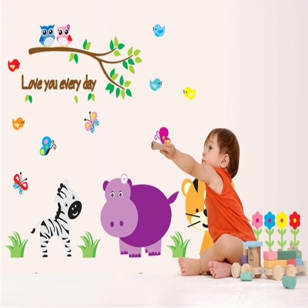 Autocolant decorativ perete - Love you every day (animale, jungla) [1]