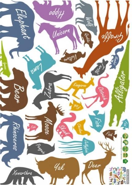 Autocolant educativ  - Siluetele animalelor si denumirea lor - 65x60 cm 5