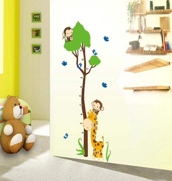 Autocolant masurator inaltime - copac cu girafa si maimute - grafic de crestere 7