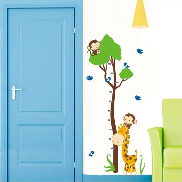 Autocolant masurator inaltime - copac cu girafa si maimute - grafic de crestere 4