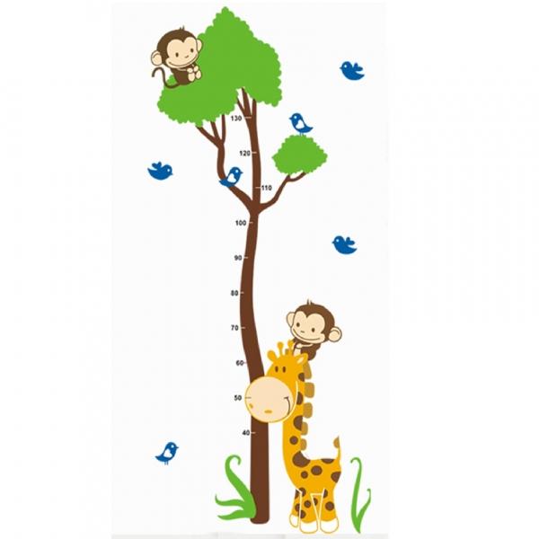 Autocolant masurator inaltime - copac cu girafa si maimute - grafic de crestere 6