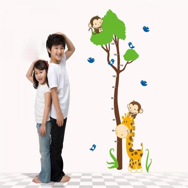 Autocolant masurator inaltime - copac cu girafa si maimute - grafic de crestere 0