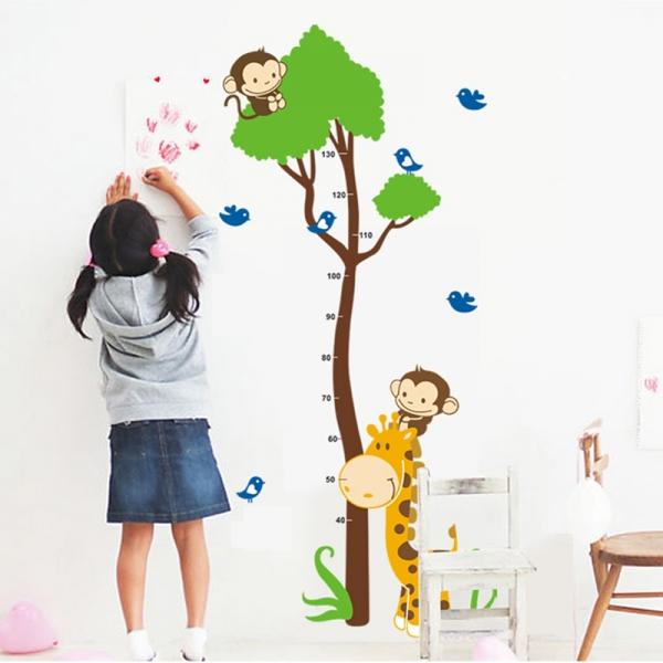 Autocolant masurator inaltime - copac cu girafa si maimute - grafic de crestere 1