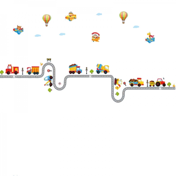 Autocolant pentru perete camere baieti - Masini, avioane si baloane 4