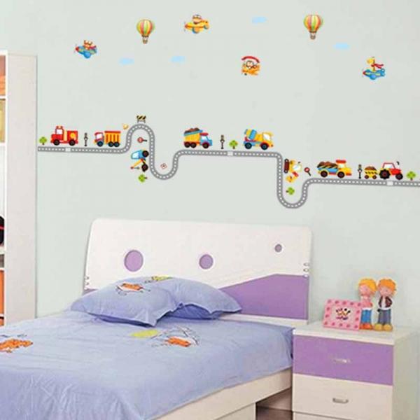 Autocolant pentru perete camere baieti - Masini, avioane si baloane 1