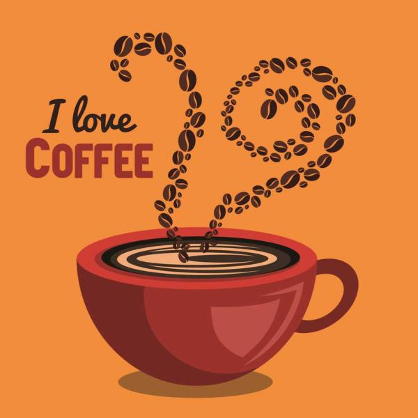 Autocolant perete - I love coffee - Fundal Portocaliu - 60x60 cm 0