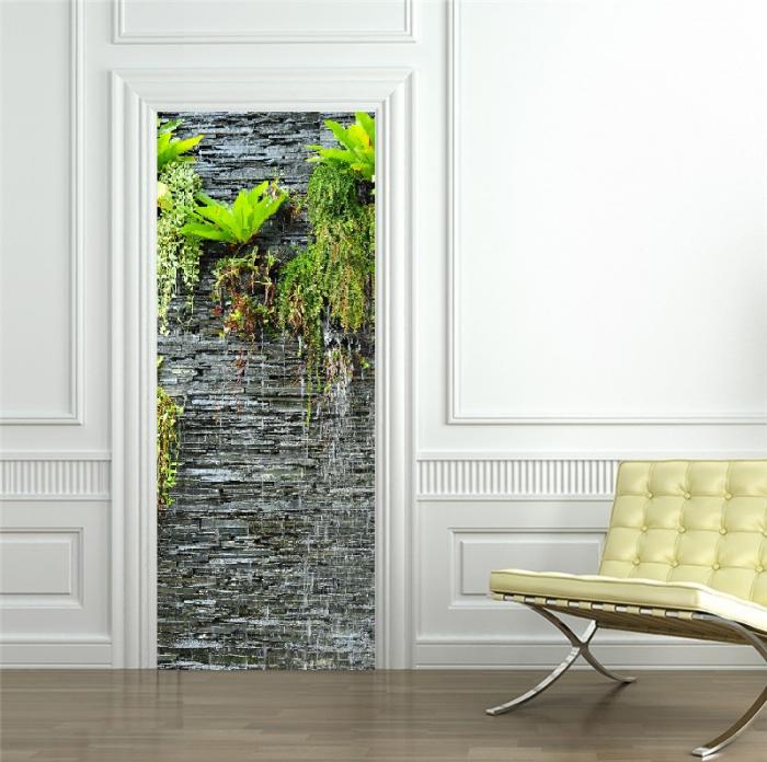 Autocolant usi interior -Cascada Perete Piatra si Plante Verzi - 1 folie de 77x200 cm [2]
