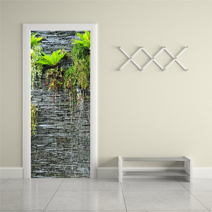 Autocolant usi interior -Cascada Perete Piatra si Plante Verzi - 1 folie de 77x200 cm [0]