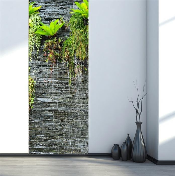 Autocolant usi interior -Cascada Perete Piatra si Plante Verzi - 1 folie de 77x200 cm [1]