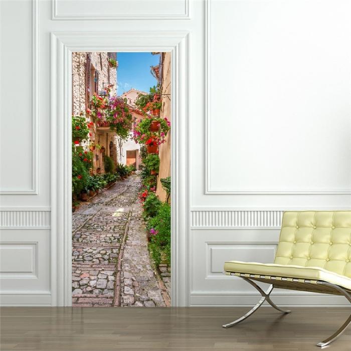 Autocolant usi interior - Straduta cu Flori - 1 folie de 77x200 cm [3]
