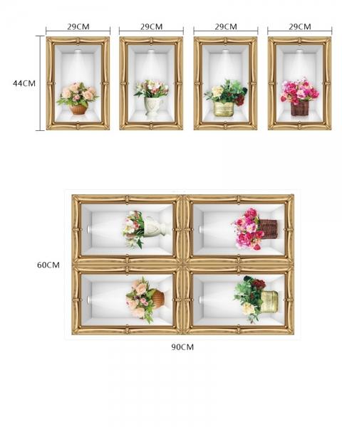 Stickere camera de zi - Aranajamente florale 3D - 122x44 cm 2