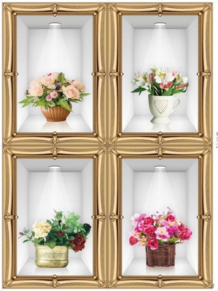 Stickere camera de zi - Aranajamente florale 3D - 122x44 cm 1