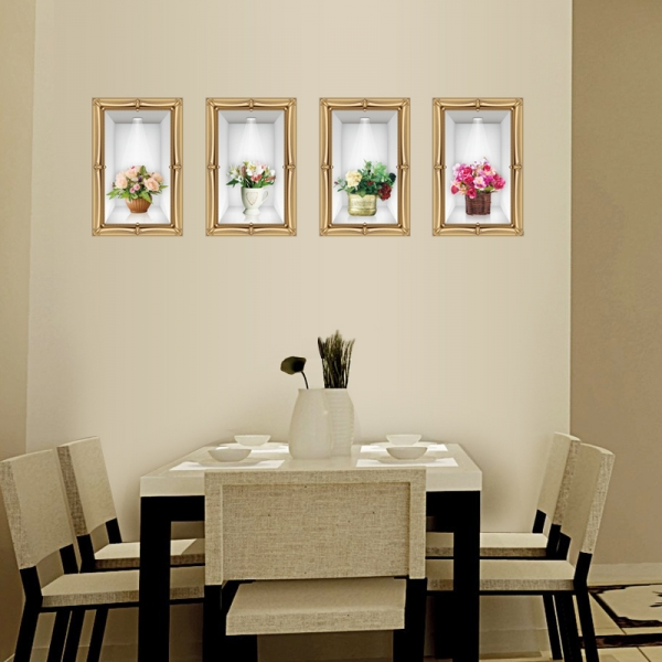 Stickere camera de zi - Aranajamente florale 3D - 122x44 cm 4